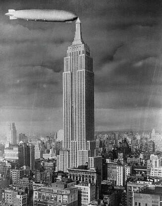 Empire State Building and Blimp